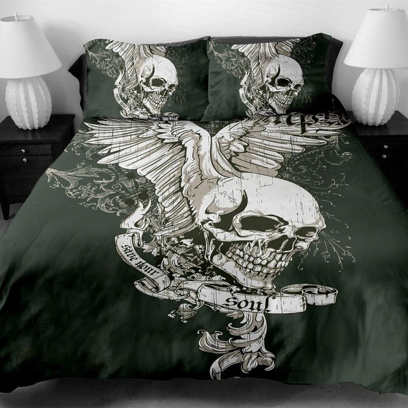 Fanaijia skull Bedding Set King size Bohemian skull Print Duvet Cover set with pillowcase AU Queen Bed best gift bedline