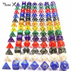Ruang Bawah Tanah dan Naga 7 Pcs/set Kreatif RPG Permainan Dadu D & D Berwarna-warni Multicolor Dadu Campuran Putih D4 D6 D8 d10 D12 D20 DND Dadu