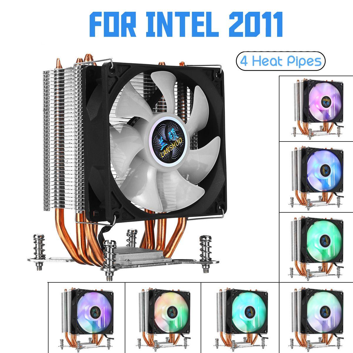 Refroidisseur de processeur de caloduc de 4 cuivre pour le ventilateur de refroidissement de lumière d'aurora 90mm avec rvb pour le radiateur de radiateur de refroidisseur de processeur d'intel LGA 2011