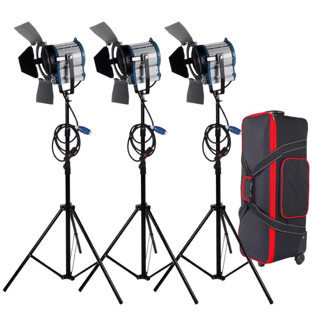 Freies verschiffen 3X1000 Watt Studio Fresnel mit dimmer control Scheinwerfer Video Licht Kit Beleuchtung mit Tragetasche
