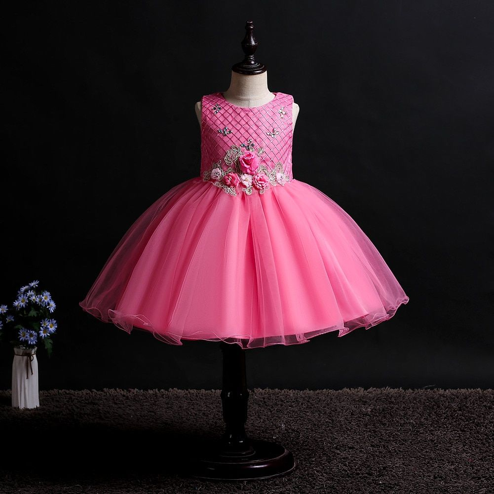 kids girl dress baby girl clothes dress girl wedding girl dress sleeveless princess dress baby wedding tutu dress Wedding