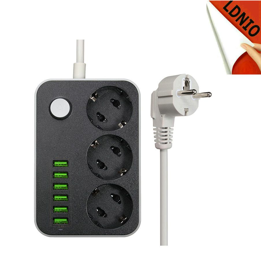 Grounding Surge Protector 3 EU AC Outlet Extension Power Strip With 6 USB Wall Charger Adapter Dock 5V 3.4A For Phone Home