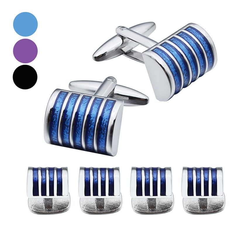 Graceful Enamel Cufflinks and Studs Set Free Gift Box for Groom Dress Button
