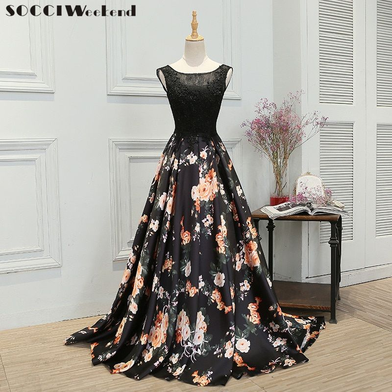 SOCCI Weekend Evening Dresses Retro Black Flowers Lace Sleeveless Women Built-In Bra Floor-Length Formal Wedding Party Gown New