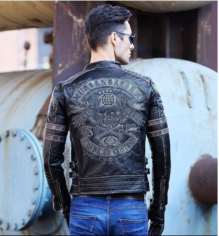 DHL Free shipping.Brand clothing mens skull genuine leather Jackets,men's Edge vintage biker jacket.plus size homme Fitness