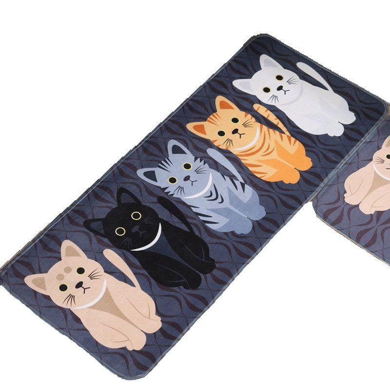 Tapis cuisine tapis paillasson Kawaii bienvenue tapis de sol tapis dans le couloir chat tapis de sol pour salon Tapete anti-dérapant
