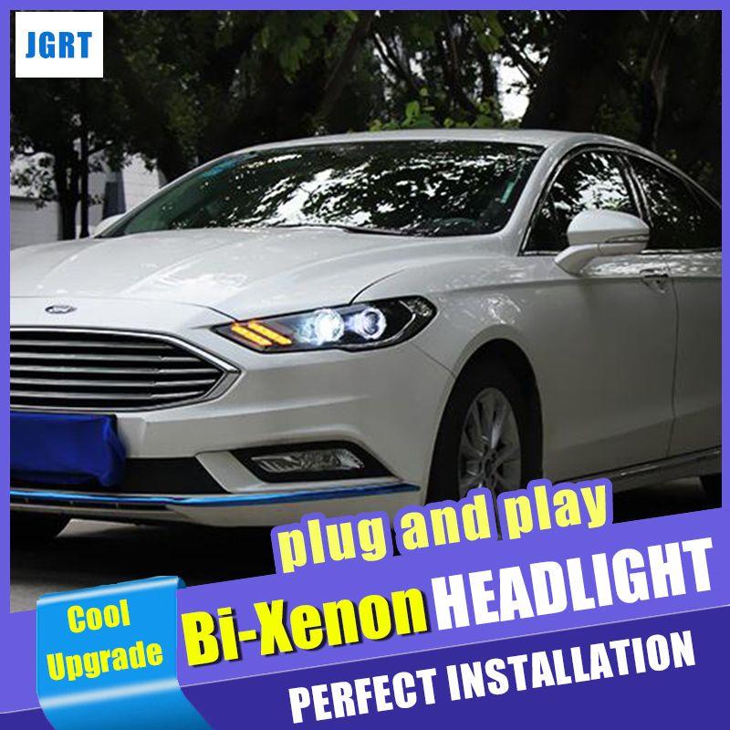 Auto styling Für Ford Fusion Mondeo kopf lampen 2017-2019 bi-xenon objektiv HID KIT scheinwerfer led drl dynamische blinker Engel Augen