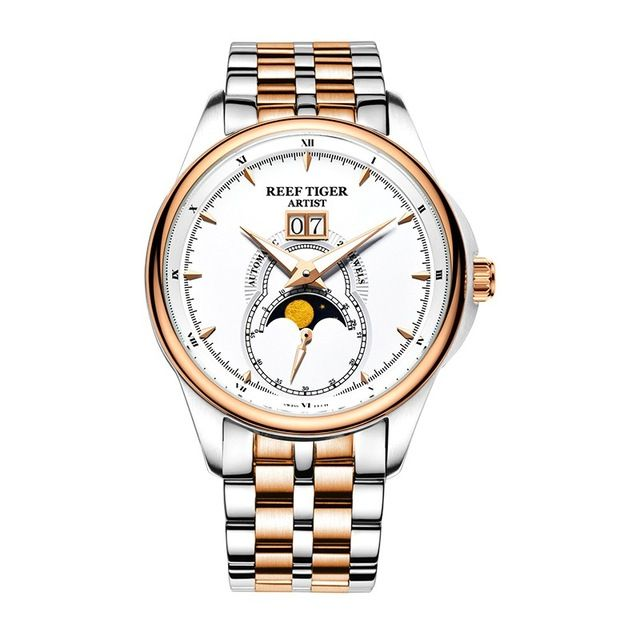 Reef Tiger Artist Serier RGA1928 Men Business Fashion Dress Watches for Men Moon Phase Automatic Mechanical Wrist Watches