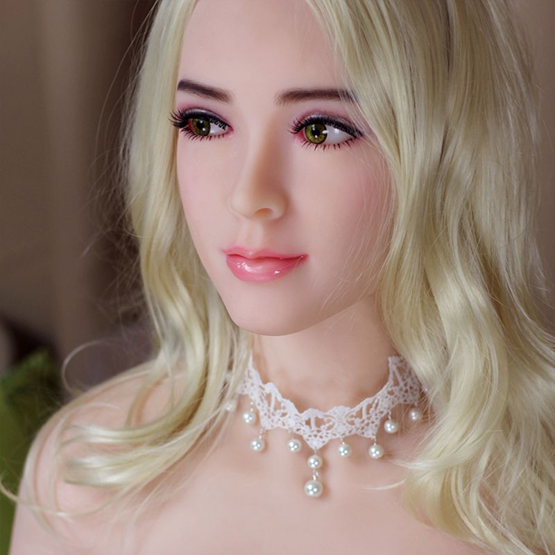 2018 New Realistic Sex Dolls Head, Euramerican Japanese Silicone Sex Dolls, Lifelike Silicone Sex Doll Head with 2 Free Wig
