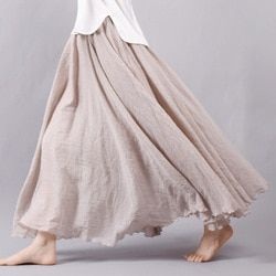 Sherhure 2019 Women Linen Cotton Long Skirts Elastic Waist Pleated Maxi Skirts Beach Boho Vintage Summer Skirts Faldas Saia