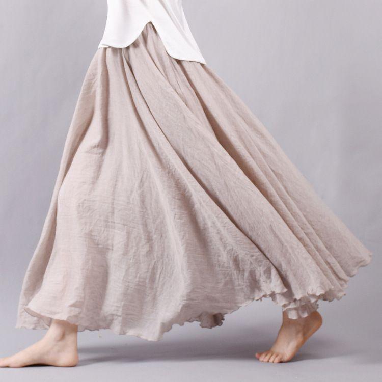 Sherhure 2019 femmes lin coton jupes longues taille élastique plissée Maxi jupes plage bohème Vintage été jupes Faldas Saia