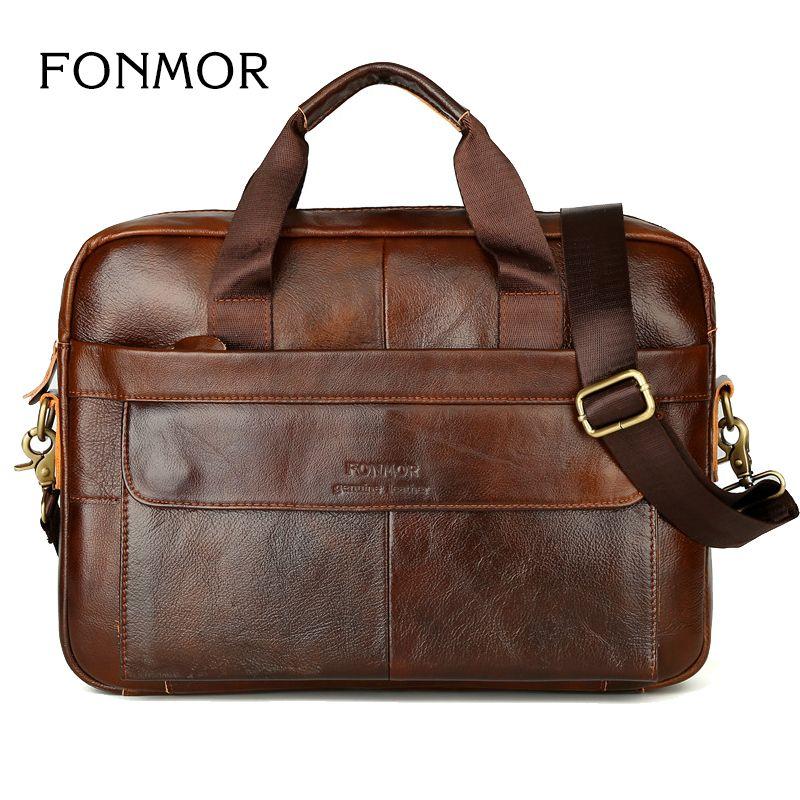 New Men Briefcases Genuine Leather Handbag Vintage Laptop Briefcase Messenger Shoulder Bags Men's Bag