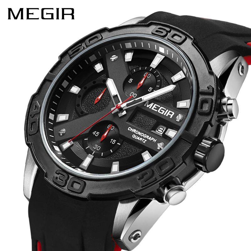 MEGIR Chronograph Sport Watch Men Relogio Masculino Top Brand Fashion Silicone Quartz Army Military Wrist Watches Clock Men 2055
