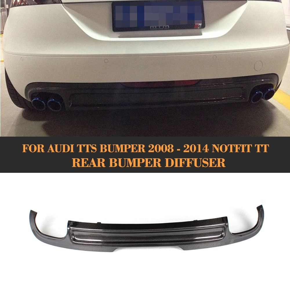 Carbon Fiber Car Rear Diffuser Bumper Lip for Audi TT 8J Standard Bumper Notfit US Car 2008 2009 2010 Black PU