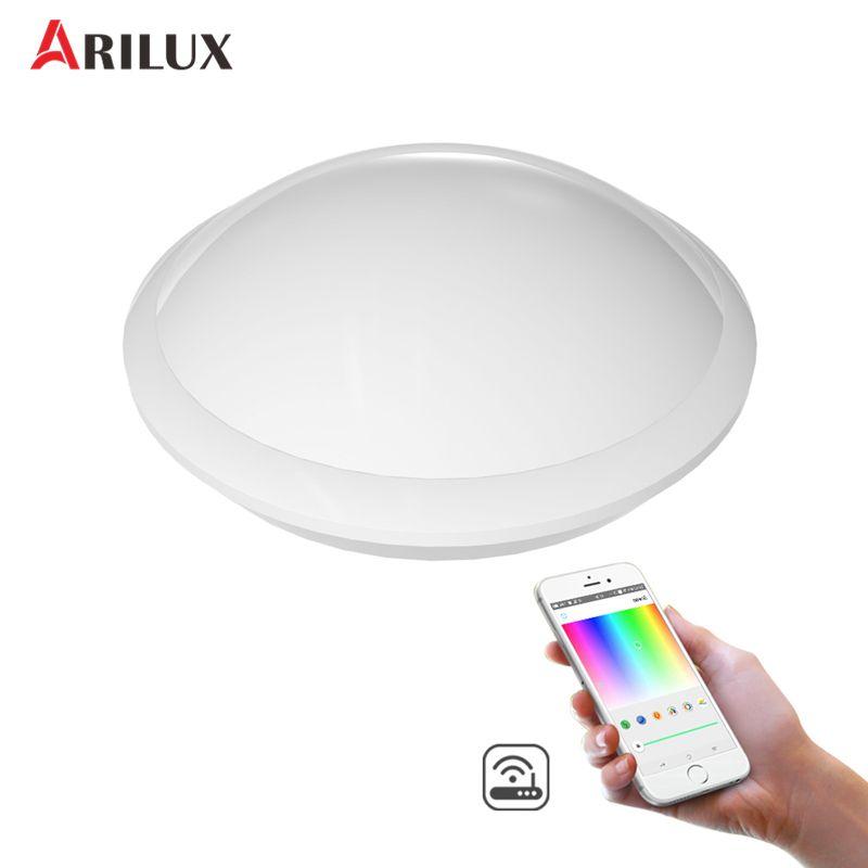 ARILUX 30W RGB+W+WW Wifi Smart LED Ceiling Light IR Remote and APP Voice Control 1700LM Night Lamp Work with Al