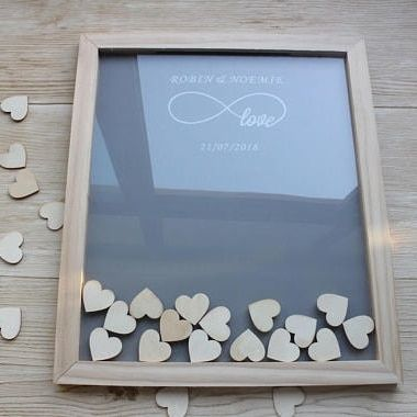Wooden Hearts Wedding Guest Books Alternative,Personalized Wedding Guest Book,Rustic Engagement Guestbook,Custom Signature Frame