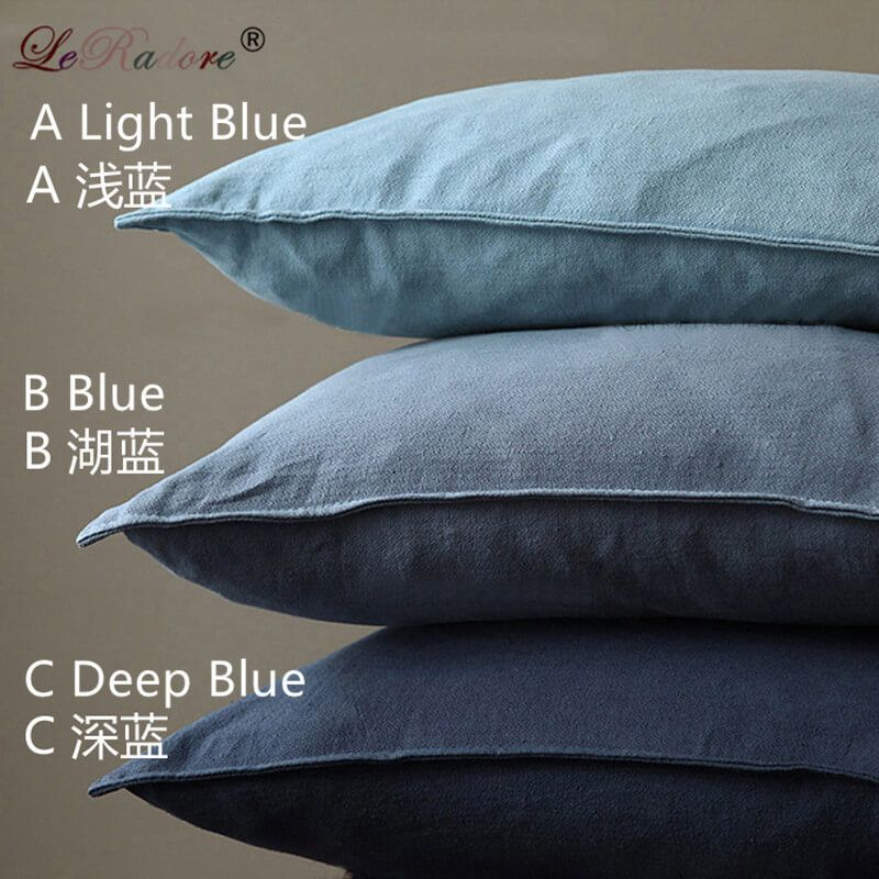 LeRadore Solid Cotton and Linen Bolster Japanese Style Cushion Cover with Goose Feather Filler 60*60cm Pillow Drop Shipping