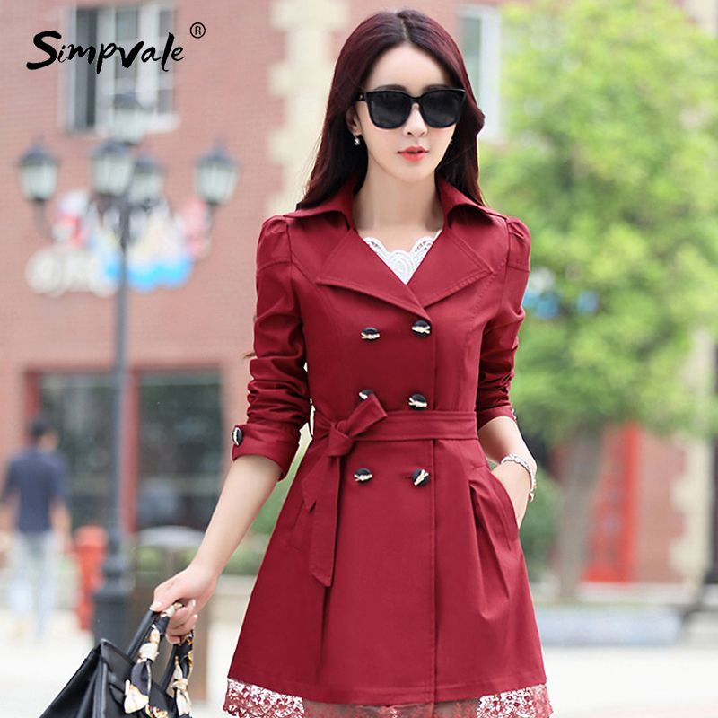 M-3XL 9 Color Office Lady Coats Outwears Lace Button Solid Slim Burderry Trench Coat Ladies Spring Autumn Woman Clothing