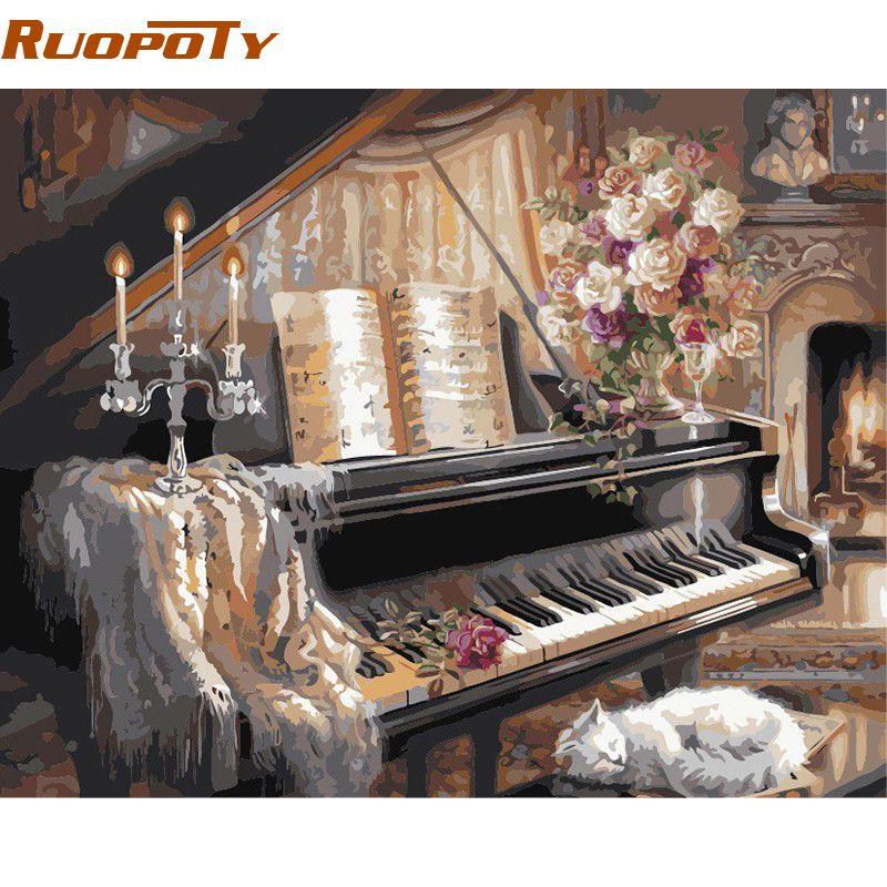 Cadre RUOPOTY Europe Piano peinture à la main par numéros mur Art photo peint à la main peinture à l'huile sur toile pour pièce mur œuvre