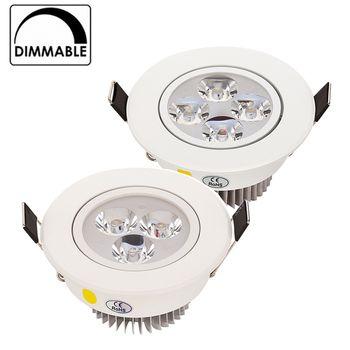 Vente chaude 9 W 12 W 15 W LED Downlight Dimmable Blanc Chaud Nature Blanc Pur Blanc Encastré LED Lampe Spot Light AC85-265V