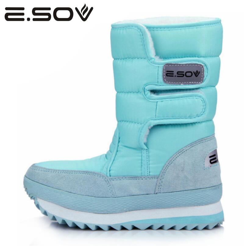 Esov 2017 плюс Size35-45 женские теплые боты слипоны Для женщин зима платформа Спортивная обувь Сапоги и ботинки для девочек Мех животных Внутри Бот...