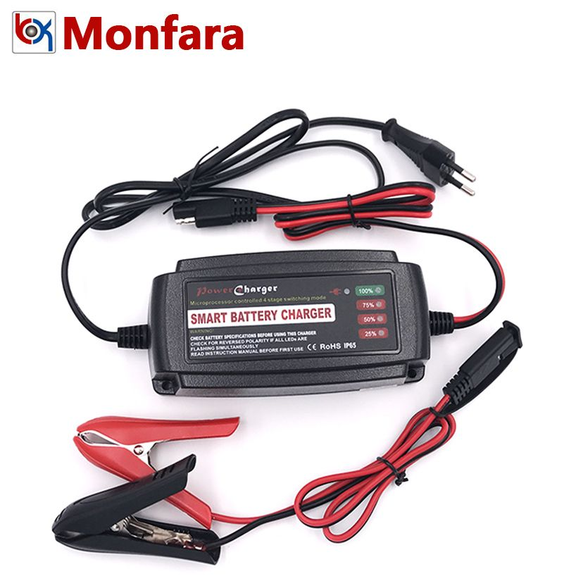 4 Stages Automatic Battery Charger Car Motorcycle Ship AGM GEL VRLA SLA WET Lead-Acid Batterie Auto Power Charge Adapter 12V 5A
