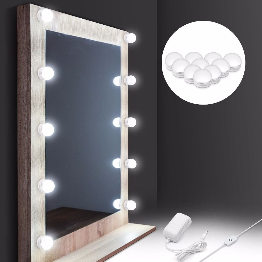 Hollywood Style Makeup Mirror Vanity LED Light Bulb Kit for Dressing Table with Dimmer Power Supply Plug in Linkable AC 100-240V