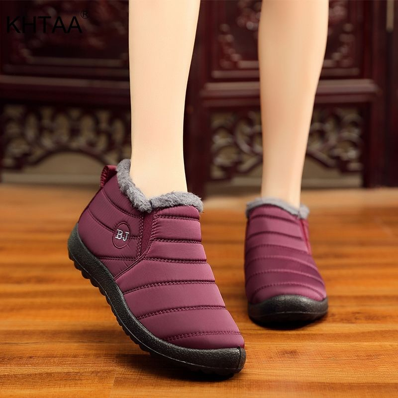 KHTAA Waterproof Female Shoes Winter Unisex Ankle Boots Women's Skid Plus Size Snow Boots Warm Plush Couple Style Cotton Casual