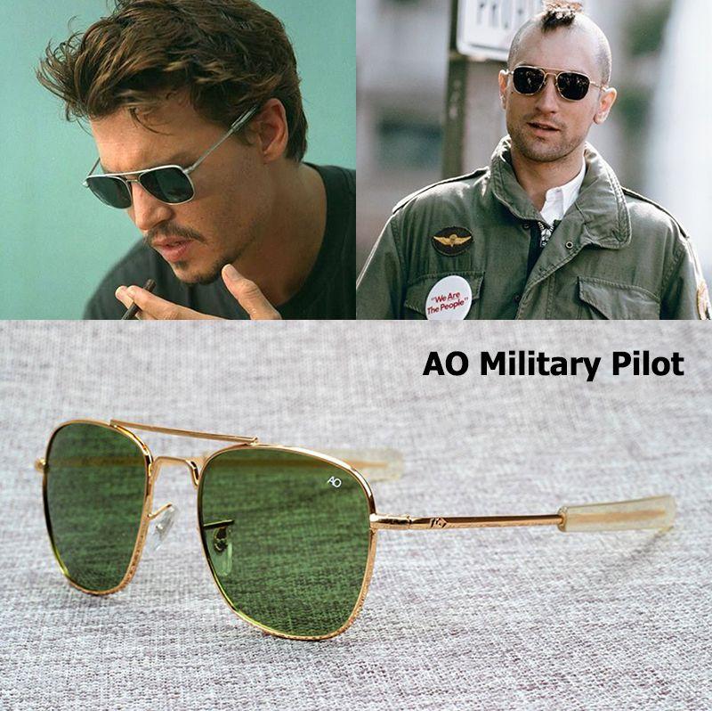 JackJad New Fashion Army MILITARY AO Pilot 54mm Sunglasses Brand American Optical Glass Lens Sun Glasses Oculos De Sol Masculino