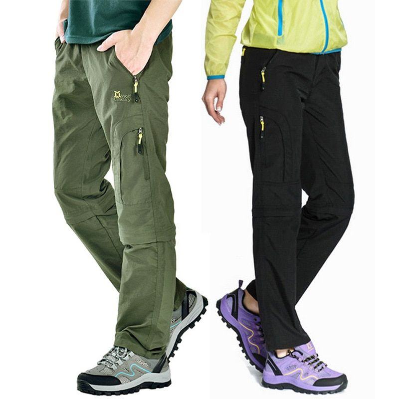 Nylon Breathable Removable Waterproof <font><b>Hiking</b></font> Pants Women Men Quick Dry Trousers Outdoor Trekking Climbing Pants Shorts,AW003