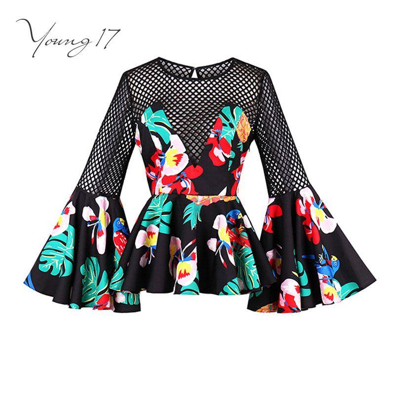 Young17 блузка рубашка женщин цветочный принт черный спинки открытые летние повседневные Flare Длинные рукава модные пикантные женские новая бл...