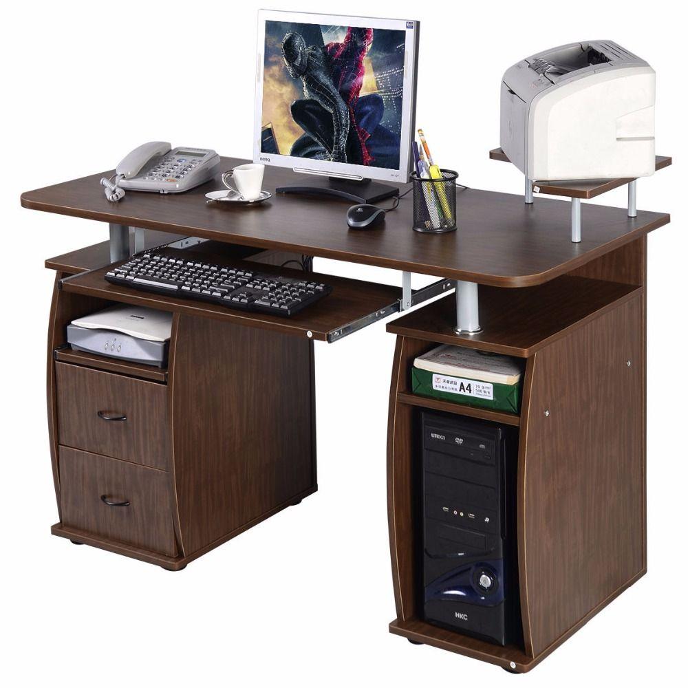 Goplus Computer PC Desk Work Station Office Home Monitor&Printer Shelf Furniture Modern Office Desk with 2 Drawers HW49511