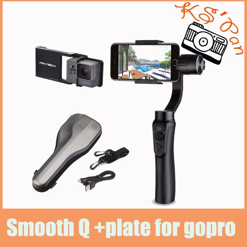 Zhiyun Smooth Q 3-Axis Handheld Gimbal Portable Stabilizer for iPhone 8 7 6s + Smooth Plate suit for Gopro Hero 5 4 3 4 color