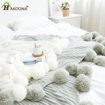 HAKOONA Marque qualité coton Pom Crochet Fil D'été Couvertures 100*105 cm Bébés Adultes Taille Double Lit Équipé Jette lit Coureurs