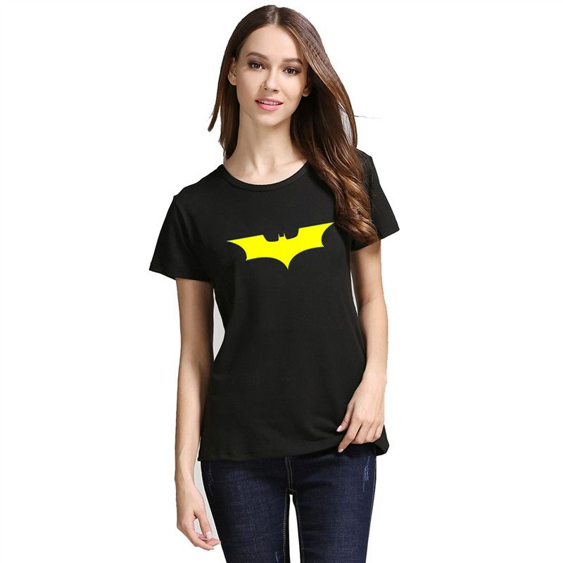 Frauen sommer t-shirt gedruckt Batman Stretch kurzarm Baumwolle t-shirt Batman Dark Knight Logo stil