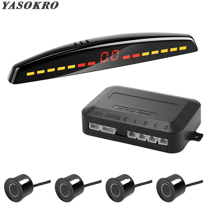 YASOKRO voiture Led capteur de stationnement détecteur de voiture automatique Parktronic affichage système de surveillance Radar de sauvegarde inverse avec 4 capteurs