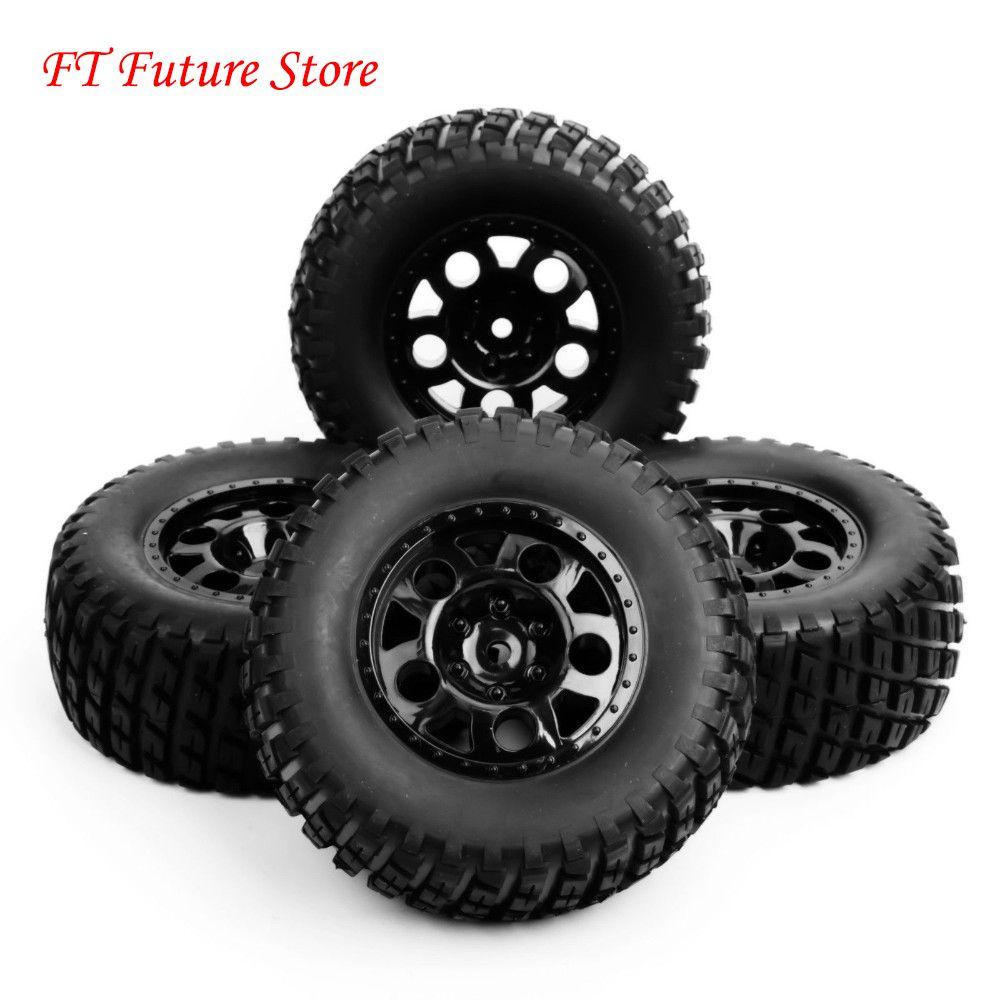 1/10 échelle RC court Course camion pneu et roue pour voiture modèle 4pc Set accessoire