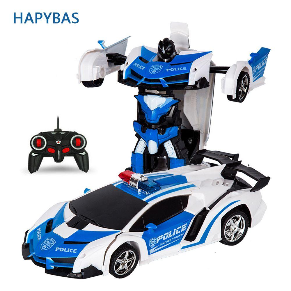 RC Voiture robots transformables Sport t-shirt floqué robots jouets Cool Déformation De Voiture jouets pour enfants cadeaux pour Garçons