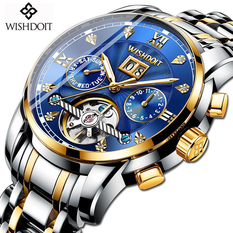 WISHDOIT Neue Männer Uhr Mechanische Tourbillon Luxus Mode Edelstahl Sport Uhren Herren Automatische Uhr Relogio Masculino
