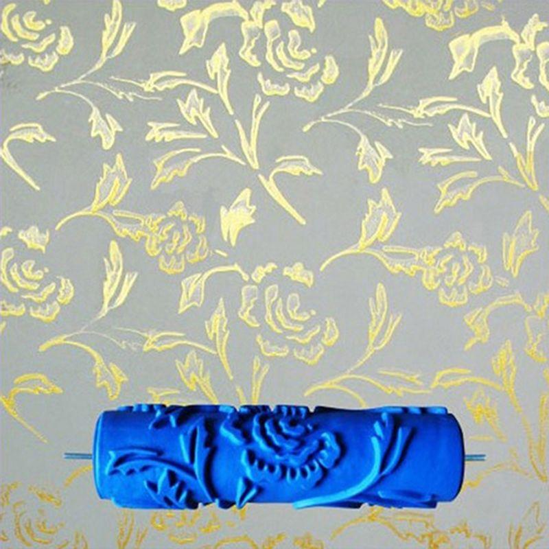 7 pouces 3D caoutchouc mur peinture décorative rouleau, rouleau à motifs mur décoration outils sans poignée, rose rouleau 110C