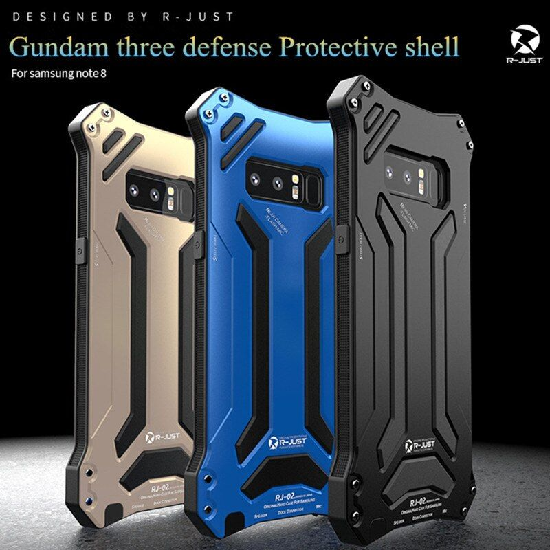 R-JUST Gundam Rüstung telefon fall Für Samsung Galaxy Note 8 S8 S8 Plus S9 + stoßfest Aluminium Metall schutz Abdeckung