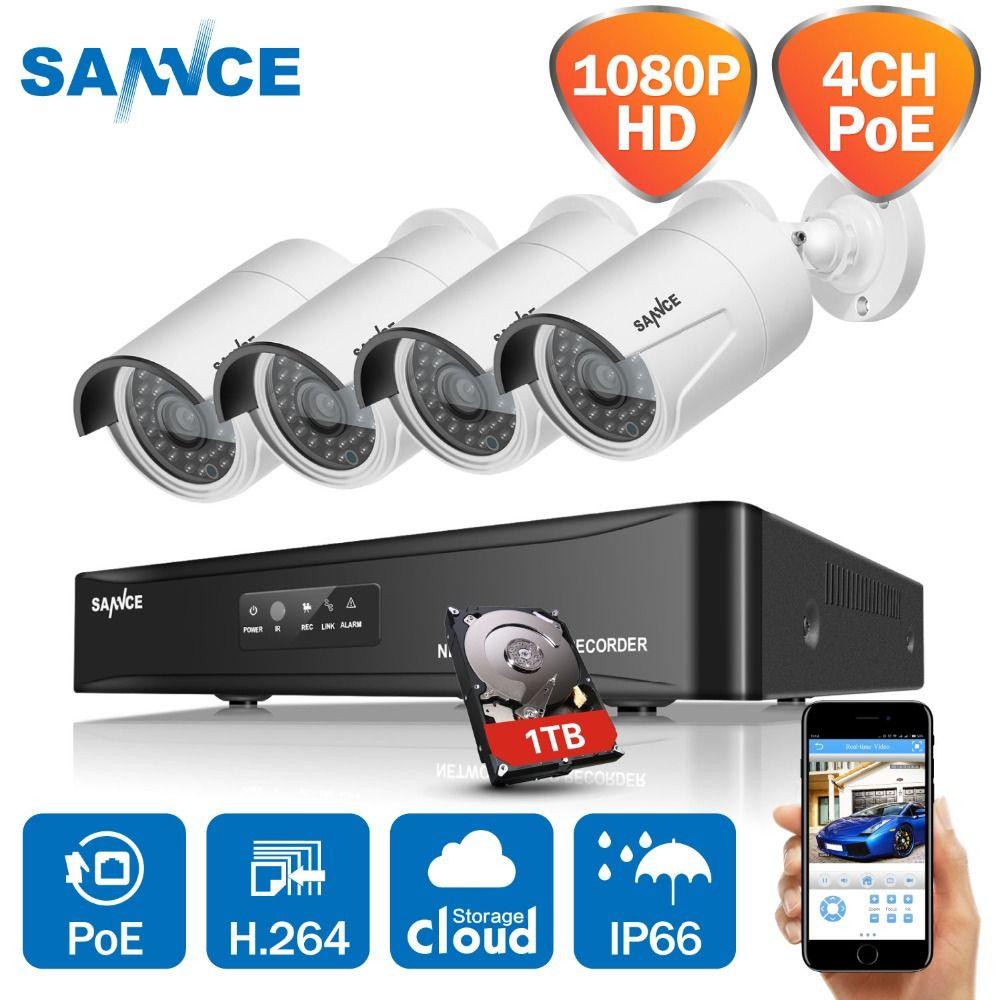 SANNCE 4CH HD 1080 P SPÖ Vidéo CCTV NVR Système 4 pièces 2MP POE IP Caméra Extérieure Résistant Aux Intempéries De Surveillance De Sécurité à Domicile Kits