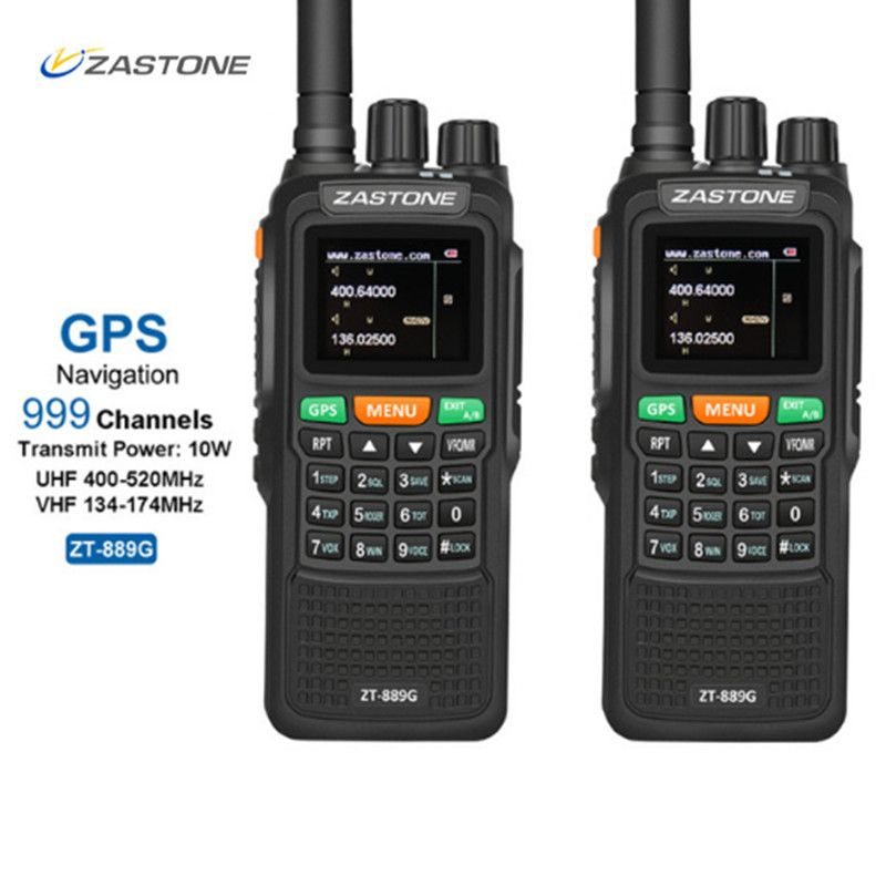 2pcs ZASTON 889G Portable Two Way Radio 5km-10km UHF/VHF 10W 999CH 3000mAh Walkie Talkie Ham CB Radio Comunicador for Explore