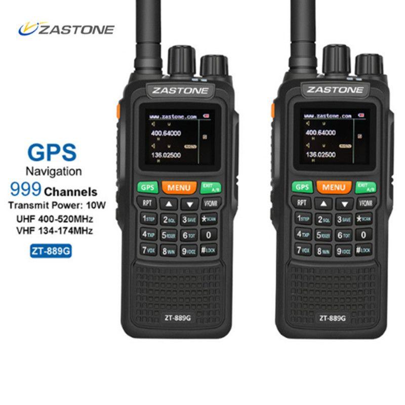 2pcs ZASTON 889G Portable Two Way Radio 5km-10km UHF/VHF 10W 999CH 3000mAh Walkie Talkie Ham CB Radio Comunicador for Explore