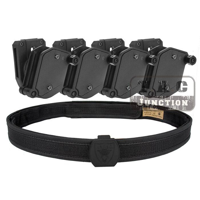 IPSC USPSA IDPA Competition High Speed Shooting Inner & Outer Belt w/ 4 x Multi-Angle Speed Pistol Magazine Pouch Mag Holster
