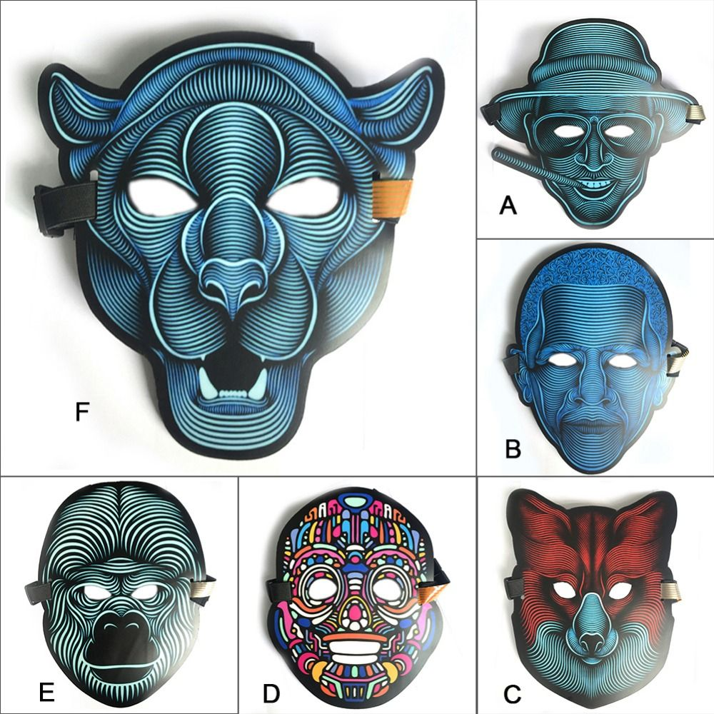 High Quality EL wire mask for horrible Party night and Screaming Party decorations LED cold light mask sound activated