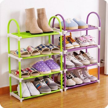 4 colors 4 layers  Shoe Rack Plastic parts Steel Pipe Shoes Shelf Easy Assembled Storage Organizer Stand Living Room Furniture