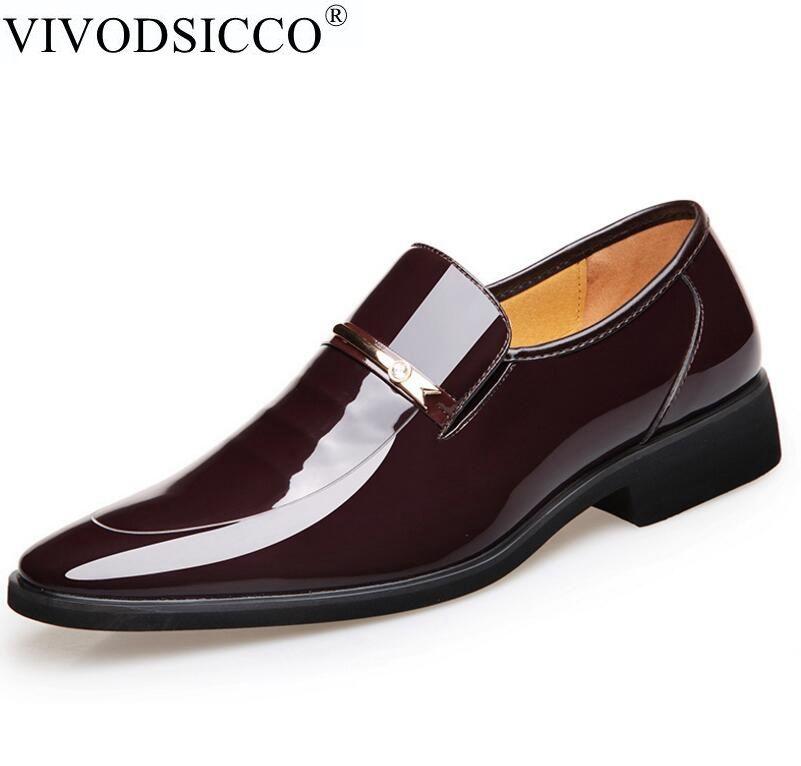 VIVODSICCO Vintage Design Patent Leather Oxford Shoes For Men Dress Shoes Men Formal Shoes Pointed Toe Business Wedding Shoes