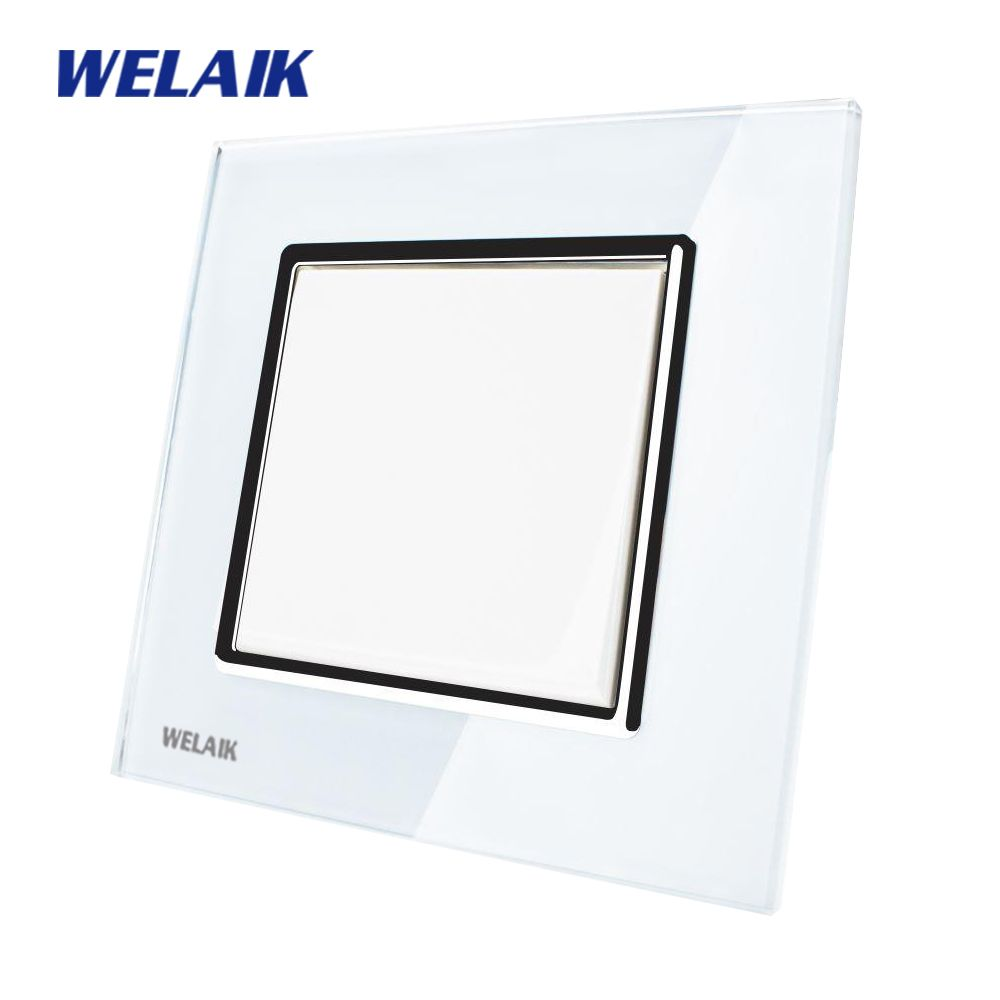WELAIK Push Button Switch Manufacturer of Wall Light Switch Black White Crystal Glass Panel AC 110-250V 1Gang 1Way A1711W/B