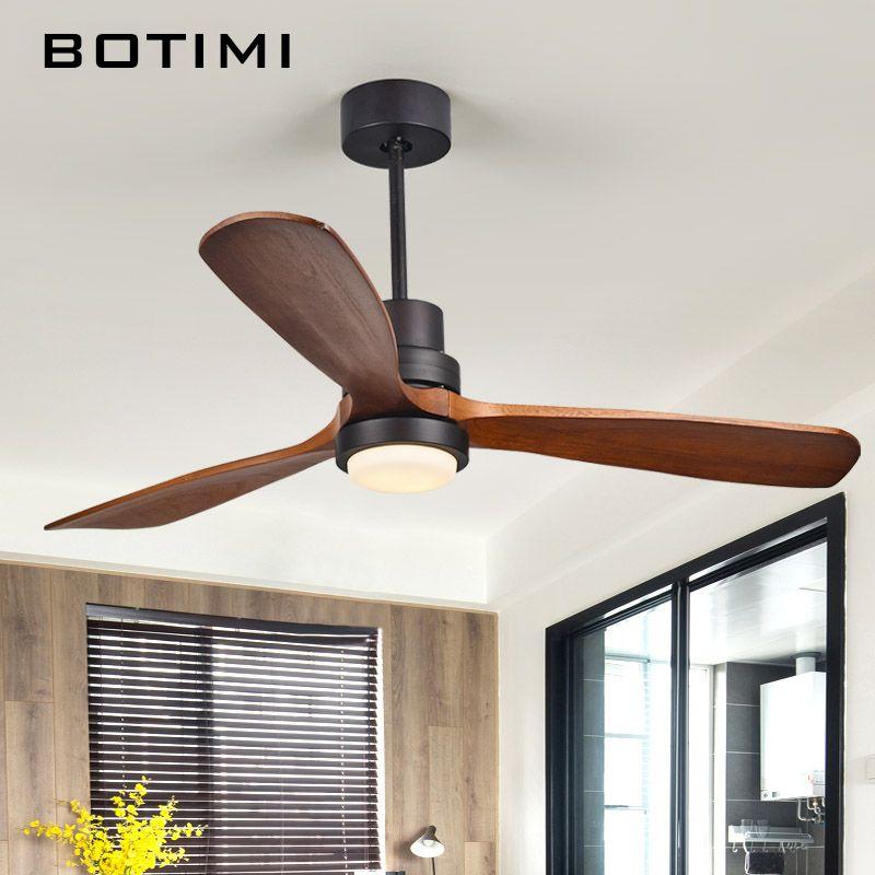 Botimi 220 V LED ventilateur de plafond pour salon 110 V ventilateurs de plafond en bois avec lumières 52 pouces lames ventilateur de refroidissement à distance ventilateur lampe
